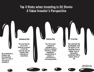 Top 3 Oil Investment Risks. Oil. Risky Business for Value Investors. Infographic. MyAssetClass.com is an Online Value Investor Discussion Forum Where Investors Present their Experiences with Value Investing and Share their Best Investment Ideas.